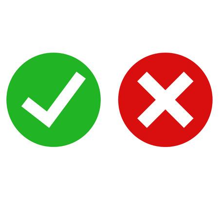 Grünes Häkchen fertig und rotes x-Symbol. Kreuz- und Häkchenzeichen. Flache Symbole für Anwendungen. EPS 10