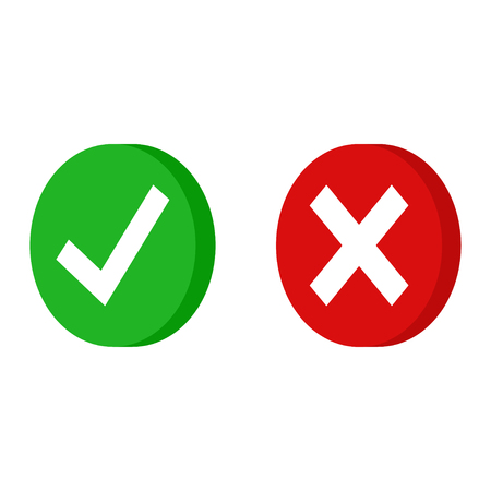 Green checkmarck done and red x icon. Cross and tick signs. Isometric icons for applications. EPS 10 Illustration