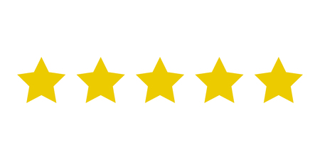 Five yellow stars customer product rating. Icon fow web applications and websites. EPS 10 Reklamní fotografie - 119650295