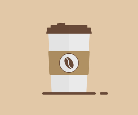 Cup of coffe hot drink in paper cup on brown background in trendy flat style. EPS 10