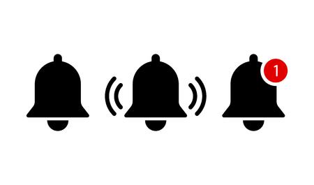 Black bells on white background or notification symbols isolated. EPS 10