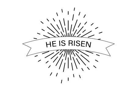 He is risen Easter celebration poster with sunburst world faith. Иллюстрация