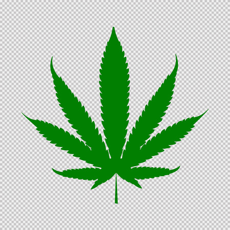 Cannabis leaf green icon. Medical plant. Natural dope isolated on white background.
