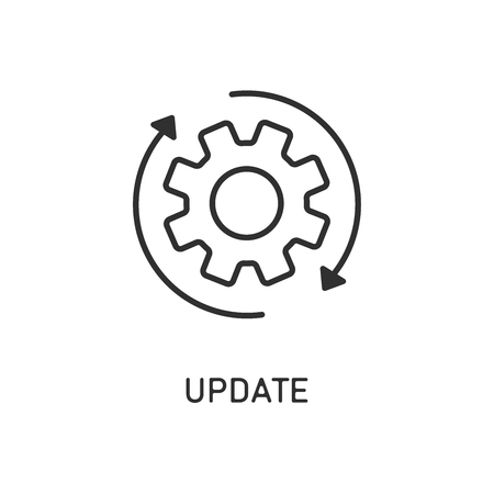 Icon update system. Weheel arrow. Process updating. EPS 10