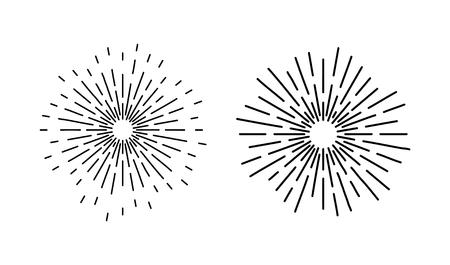 Vintage starburst, sun rays drawing element on white background. Ilustração Vetorial