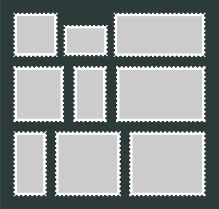 Set of blank postage stamps isolated on grey background. Mail stamps in different sizes in flat style.