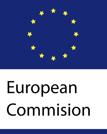 Sign of European Comission isolated banner. National emblem. Union of Europe.