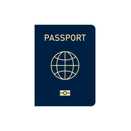 International passport isolated on white background. Travel document. World immigration. Illustration