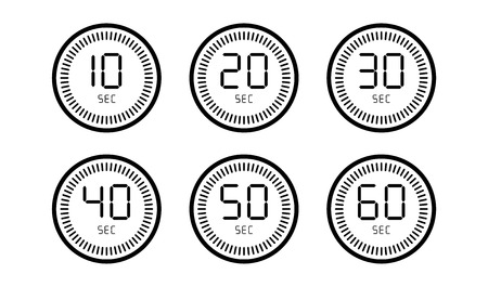 Set of timer count down digital clock isolated on white background.