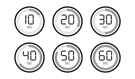 Set di timer conto alla rovescia orologio digitale isolato su sfondo bianco.