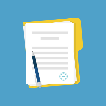 Document with stamp and pen. Business documents agreement. Paper contract or paperwork on blue background. EPS 10