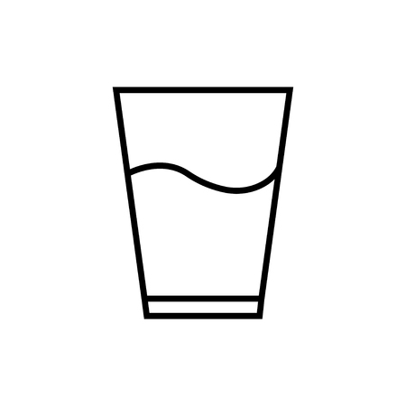 Glass icon with water isolated on white background. Drink symbol. Glass with liquid ice water. EPS 10