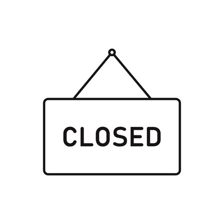 Closed open signboards isolated. Retro decoration market element. Store banner. EPS 10
