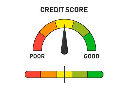 Credit score indicators illustration. Progress indicator with pointer. Financial situation level. EPS 10