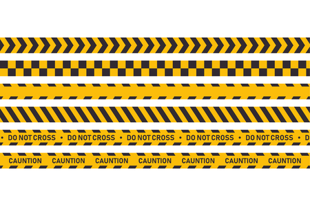 Cauntion or danger tape isolated. Set industrial protection tapes. Attention hazard. EPS 10 stock vector Ilustração