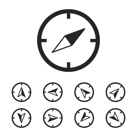 Compass icon with set isolated template navigation. Tourism icons for web application and sites. EPS 10 Ilustração