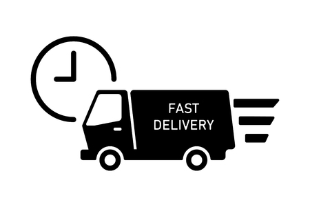 Truck delivery icon with clock isolated. Fast shipping service. Moving car icon. EPS 10