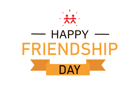 Friendships day celebration. Banner with ribbon for web or social media. Youth poster. Relationship forever. EPS 10 Иллюстрация