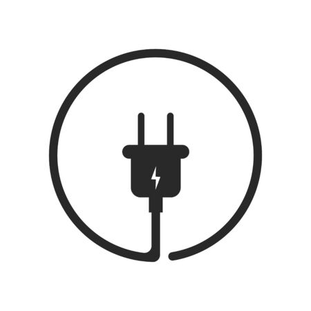 Plug icor for socket. Electric cable and adapter. Electrical concept device.