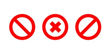 Set of no signs isolated. Red no cross symbol. Circle red warning icon. Ilustração