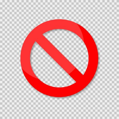 No sign isolated. Red no symbol. Circle red warning icon. Template for button or web applications. Ilustração