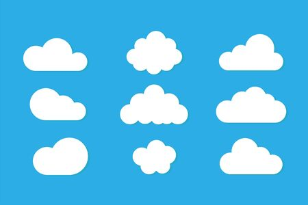 Set of clouds isolated on blue background. Weather signs. White paper stickers. Векторная Иллюстрация
