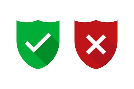 Two green and red shields with checkmark and cross isolated. Security or safe sign. Internet defence symbol. Web technology secure icon Ilustração