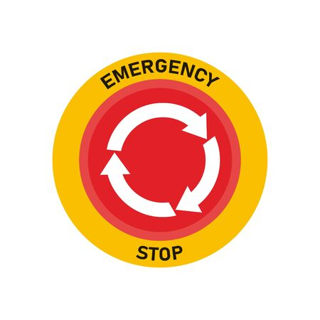 Emergency stop button. Red warning press button. Call support.