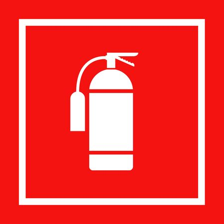 Icon of fire extinguisher isolated. Fire danger. Symbol of fire protection. Sign firefighting on red background.