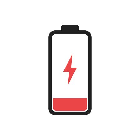 Low battery level icon isolated. Charging symbol. Electric charge technology.