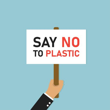 Hand holding placard. Illustration protest with say no plastic banner or board on blue background. Иллюстрация