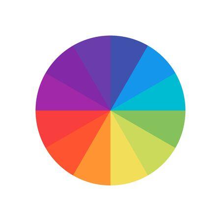 Farbiger Kreis. Farbspektrum des Rades. Kreis-Palette. Flache Schablone des mehrfarbigen Kreises.