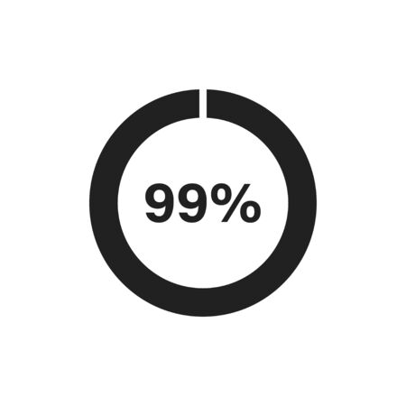 Circle loading icon template. Update or loading symbol for web or application. 99 percent. EPS 10