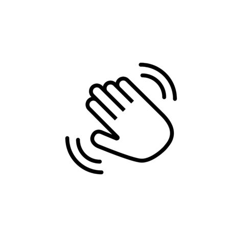 Hello hand with waves icon. Hand goodbye emoji linear sign. Hi isolated symbol. EPS 10 Ilustração