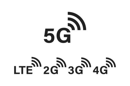 5g internet technology. Network signs. Sign of settings. Symbol of connecting. 5G 4G 3G 2G LTE mobile communication. EPS 10 일러스트