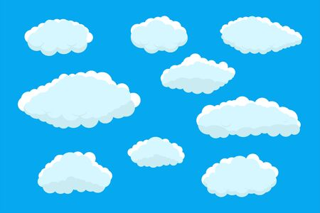 Set of clouds. Abstract blue summer clouds.Weather clouds collection isolated on blue background. Иллюстрация