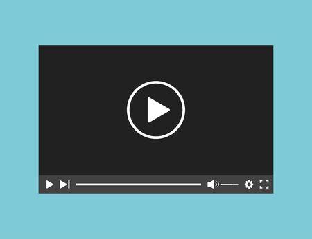 Modèle d'interface d'application Web de lecteur vidéo. Application de fenêtre d'écran de barre.