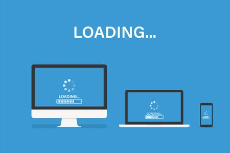 Loading or update set of device. Isolated vector template. Software system updating personal computer laptop smartphone.