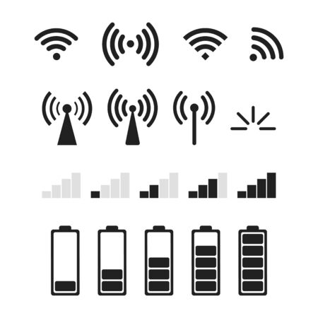 Set of signal vector icons isolated. Vector level of battery or charging isolated signs. Stok Fotoğraf - 131070650