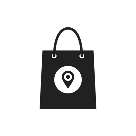 Bag with pointer icon isolated on white background. Pinpoint shop and shopping. Supermarket bag symbol. Illustration