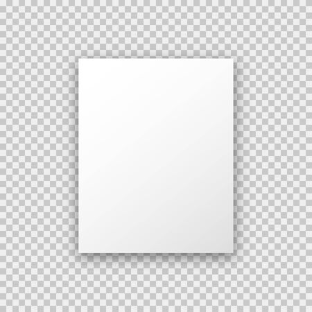A4 paper mock up poster on transparent background in trendy realistic style with shadow.