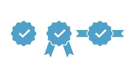 Verified and approve sign for social networks. Vector isolated icons for web badges, buttons, pins. EPS 10 Ilustração