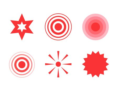 Pain red circle or localization mark, aching place sign, abstract symbol of pain, medical point of pain isolated symbol.