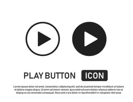 Play button vector icon isolated on white background. Multimedia graphic or interface element. EPS 10