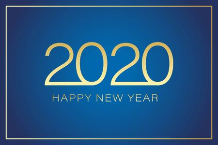 2020 Happy New Year text for greeting card with gold frame calendar invitation. Vector illustration on gradient dark blue background. EPS 10 Illustration