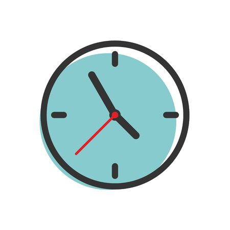 Flat clock for concept design. Isolated vector sign symbol. Blue background.