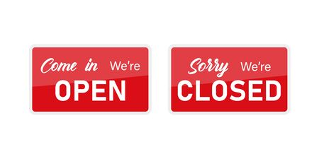 Red isolated signboards open and closed - Illustration of hanging signs in red color isolated on white background. 向量圖像