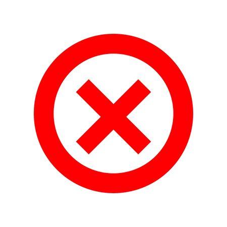 Red cross on white background. Isolated vector illustration. Circle shape no button. Negative symbol. EPS 10 Ilustração