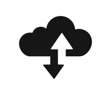 Cloud arrow vector icon isolated on white background. Cloud service database. Cloud technology. Web hosting concept. Cloud computing design. EPS 10