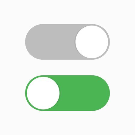 Switch toggle green grey isolated vector element. User On and Off button symbol sign. Technology concept. Internet or wed technology. EPS 10